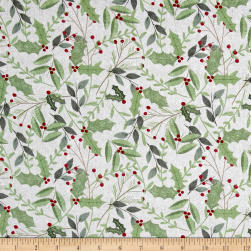 Wilmington Frosted Holiday Sprigs Allover Gray Fabric