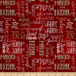 Wilmington Frosted Holiday Words Allover Red Fabric