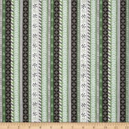 Wilmington Frosted Holiday Ticking Stripe Gray Fabric