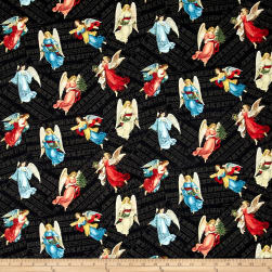 Angel Song Tossed Angels Black Fabric