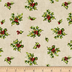 Angel Song Tossed Holly Cream Fabric