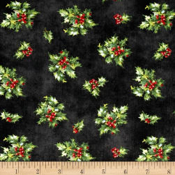 Angel Song Tossed Holly Black Fabric