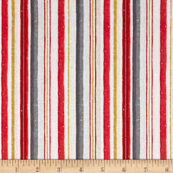 Magic of the Season Stripes White/Red Fabric