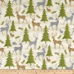 Holiday Meadow Animals Allover Tan Fabric