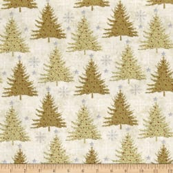 Holiday Meadow Trees Allover Tan Fabric