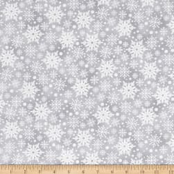 Holiday Meadow Snowflakes Dark Gray Fabric
