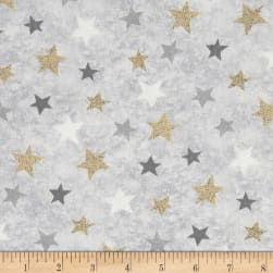 Holiday Meadow Stars Allover Gray Fabric