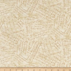 Holiday Meadow Words Tan Fabric