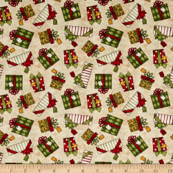 Santa's Big Night Gift Toss Tan Fabric