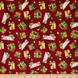 Santa's Big Night Gift Toss Red Fabric