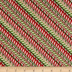 Santa's Big Night Candy Cane Stripe Red/Green Fabric