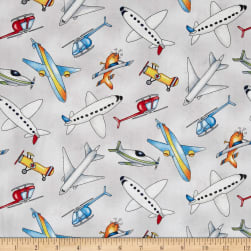 Ready For Takeoff Tossed Airplanes Gray Fabric
