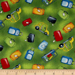 Ready For Takeoff Baggage & Cars Green Fabric