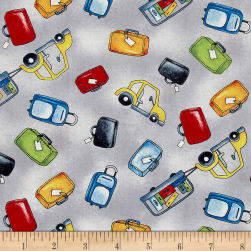 Ready For Takeoff Baggage & Cars Gray Fabric