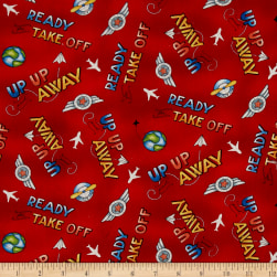 Ready For Takeoff Word Toss Red Fabric