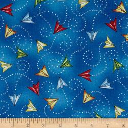 Ready For Takeoff Paper Planes Blue Fabric