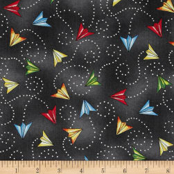 Ready For Takeoff Paper Planes Dark Gray Fabric