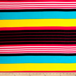 Poly Spandex ITY Knit Stripe Multi Fabric