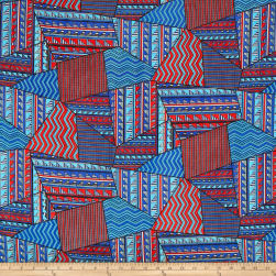 Chiffon Tribal Geo Red/Blue Fabric