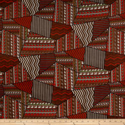 Chiffon Tribal Geo Orange/Brown Fabric