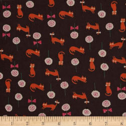Chiffon Cats and Flowers Grey/Orange