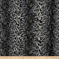 Stretch Lace Cheetah Print Black/Blue/Cream Fabric