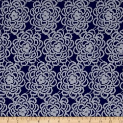 Floral Stretch Lace Royal Blue/White Fabric