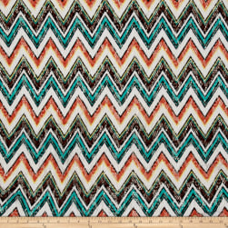Novelty Crochet Lace Coral/Teal Fabric