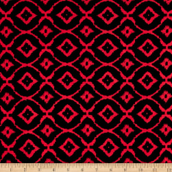 Rayon Spandex Jersey Knit Diamond Black/Red Fabric