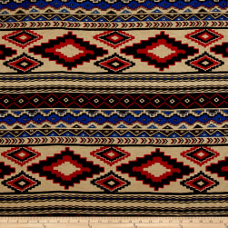 Rayon Spandex Jersey Knit Tribal Tan/Red/Blue Fabric