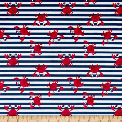 Michael Miller Minky Whales Crabby Stripe Navy Fabric