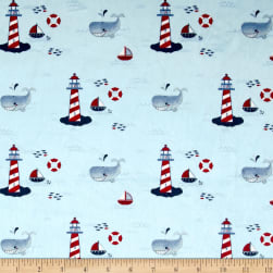 Michael Miller Minky Whales Lighthouses White Fabric