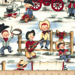 Michael Miller Minky Lil' Cowpokes Denim Fabric