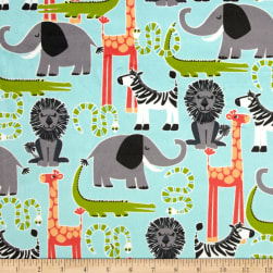 Michael Miller Minky Safari Friends Aqua Fabric
