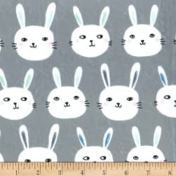 Michael Miller Minky Bunny Bunch Grey Fabric