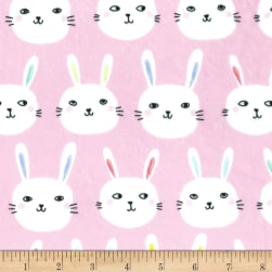 Michael Miller Minky Bunny Bunch Pink Fabric
