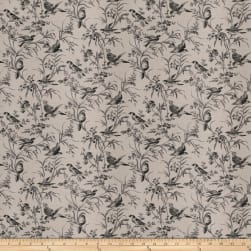 French General Aviary Toile Linen Blend Coal Fabric