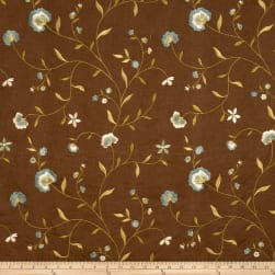 Fabricut Trailside Flowers Linen Blend Lagoon Fabric