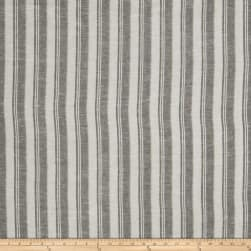 Fabricut Walker Stripe Linen Blend Black Fabric