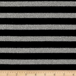Sweater Knit Stripe Black/Silver Fabric