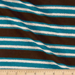 Lurex Sweater Knit Stripe Jade/Brown/Oatmeal Fabric