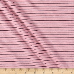 Jersey Stretch Knit Stripe Pink/Black/Silver Fabric