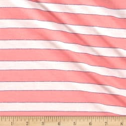 Jersey Knit Stripe Pink/White/Lurex Purple Fabric
