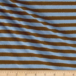 Jersey Knit Stripe Blue/Brown/Gold Fabric