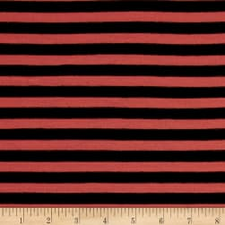 Jersey Knit Stripe Black/Coral