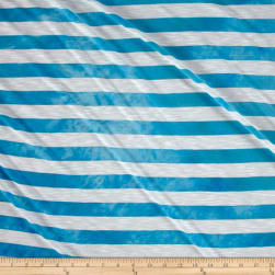Jersey Knit Stripe Slub Turquoise/White Fabric