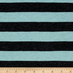 Jersey Knit Stripe Charcoal/Jade Fabric
