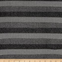 Sweater Knit Grey Lurex Stripes Fabric