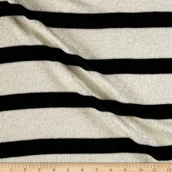 Sweater Knit Black/White Stripes/Silver Lurex Fabric