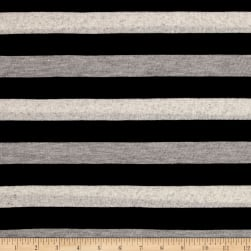 Sweater Knit Stripes/Black/Light Gray/Ivory Fabric